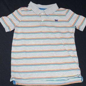 Multicolor stripe on grey collared short sleeve